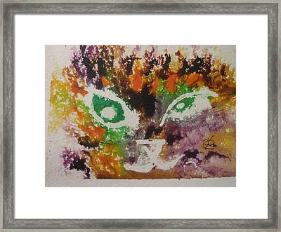 Framed Print featuring the drawing Colourful Cat Face by AJ Brown