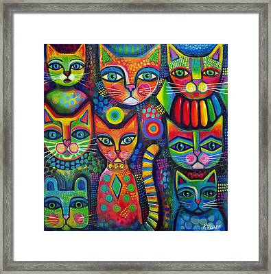 Colourful Cats Framed Print by Karin Zeller