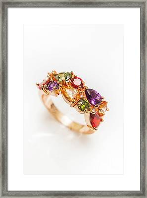 Colourful Gem Stone Engagement Ring Framed Print by Jorgo Photography - Wall Art Gallery