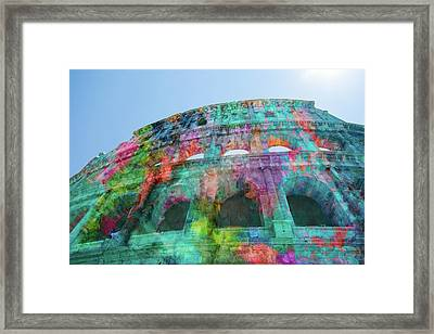 Framed Print featuring the mixed media Colourful Grungy Colosseum In Rome by Clare Bambers