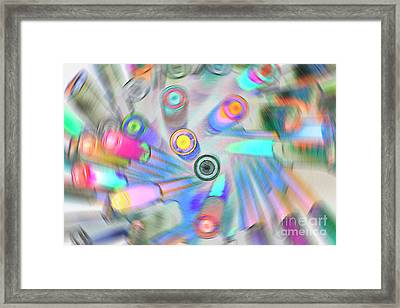 Framed Print featuring the digital art Colourful Pens by Wendy Wilton