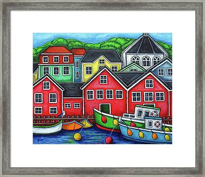 Colours Of Lunenburg Framed Print by Lisa  Lorenz