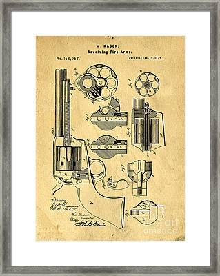 Colt Peacemaker Patent Art Blueprint Drawing Framed Print
