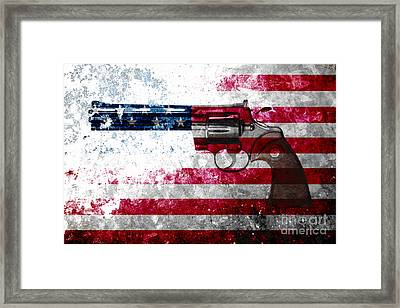 Colt Python 357 Mag On American Flag Framed Print