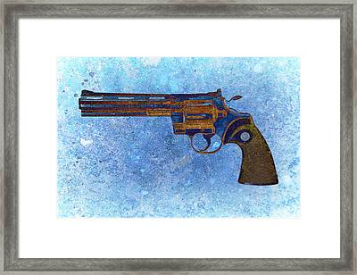 Colt Python 357 Mag On Blue Background. Framed Print