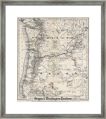 Coltons Washington And Oregon Territories Map 1880 Framed Print