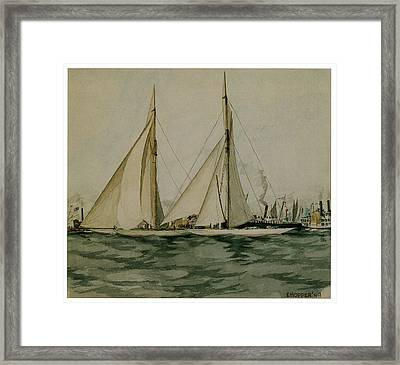 Columbia And Shamrock  America's Cup Framed Print by Edward Hopper