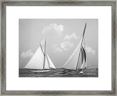 Columbia And Shamrock Race The Americas Cup 1899 Framed Print by Padre Art
