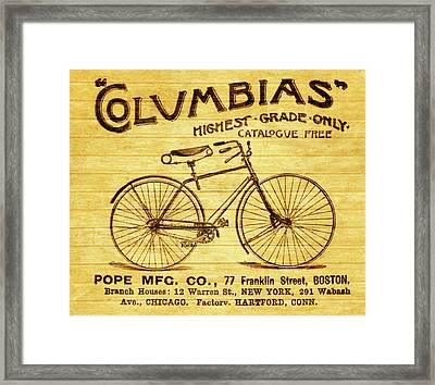 Framed Print featuring the mixed media Columbia Bicycle Vintage Poster On Wood by Dan Sproul