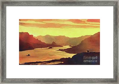 Framed Print featuring the painting Columbia Gorge Scenery by Ryan Fox