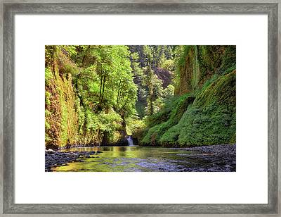Columbia Gorge Waterfall In Summer Framed Print
