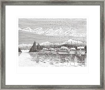 Columbia River Raft Up Framed Print by Jack Pumphrey
