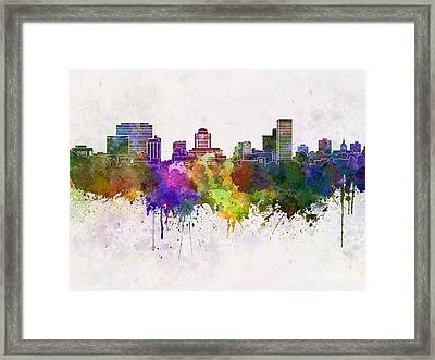 Duluth Skyline In Watercolor Background Framed Print by Pablo Romero