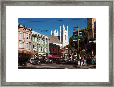 Columbus And Stockton In North Beach Framed Print