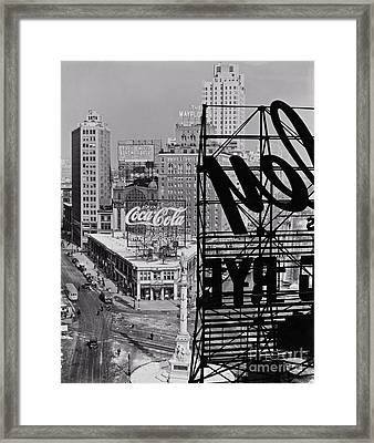 Columbus Circle Framed Print by Lionel F Stevenson