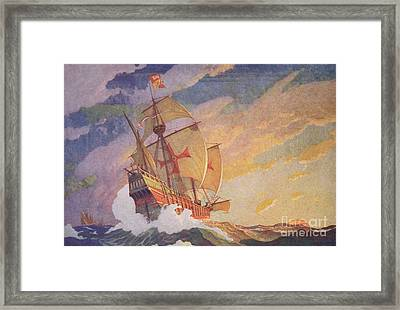 Columbus Crossing The Atlantic Framed Print by Newell Convers Wyeth