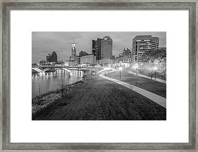 Columbus Downtown Skyline In Winter - Black And White Framed Print