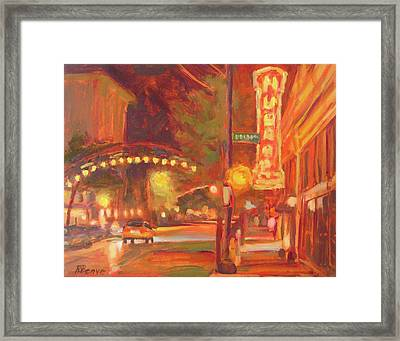 Columbus Glowing In The Night Framed Print
