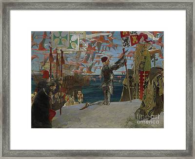 Columbus In The New World Framed Print by Edwin Austin Abbey