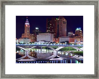 Columbus Night On The Scioto River Framed Print by Frozen in Time Fine Art Photography