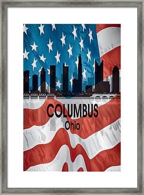 Columbus Oh American Flag Vertical Framed Print