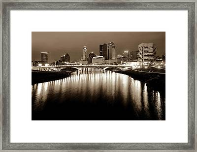 Columbus Ohio Downtown Skyline At Night - Sepia Edition Framed Print