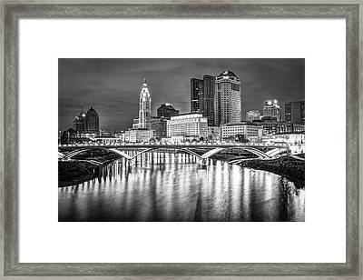 Columbus Ohio Downtown Skyline In Black And White Framed Print
