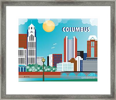 Columbus Ohio Horizontal Skyline By Loose Petals Framed Print by Karen Young