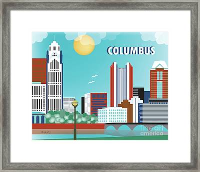 Columbus Ohio Horizontal Skyline Framed Print