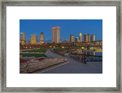 Columbus Ohio Skyline At Dusk Framed Print by Scott McGuire