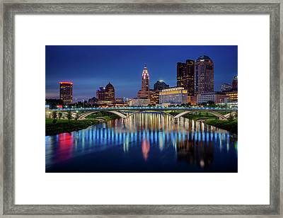 Framed Print featuring the photograph Columbus Ohio Skyline At Night by Adam Romanowicz