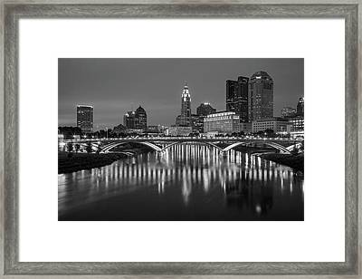 Framed Print featuring the photograph Columbus Ohio Skyline At Night Black And White by Adam Romanowicz