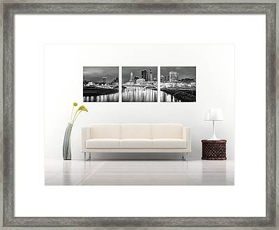 Columbus Ohio Skyline At Night In Black And White - Panoramic Panels Series Framed Print