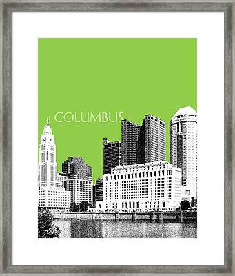 Columbus Ohio Skyline - Olive Framed Print