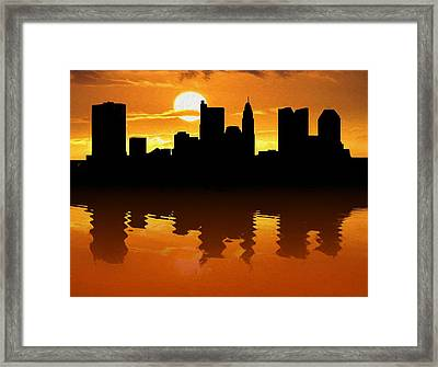 Columbus Ohio Skyline Sunset Reflection Framed Print by Dan Sproul
