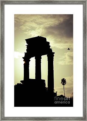 Column Sunset Temple Of Castor And Pollux In The Forum Rome Italy Framed Print by Andy Smy