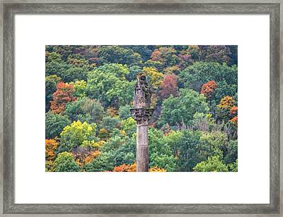 Framed Print featuring the photograph Column With Pieta Statue - Prague by Stuart Litoff
