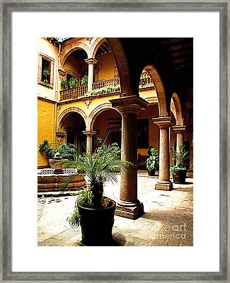Columns And Courtyard Framed Print by Mexicolors Art Photography