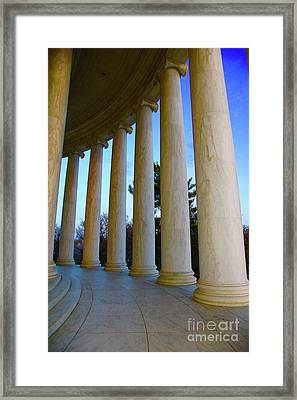 Columns At Jefferson Framed Print by Megan Cohen