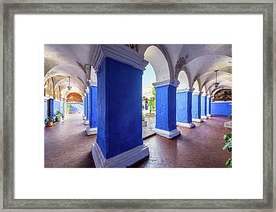 Columns In Santa Catalina Monastery Framed Print by Jess Kraft