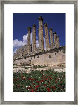 Columns In The Ancient Roman City Framed Print by Richard Nowitz