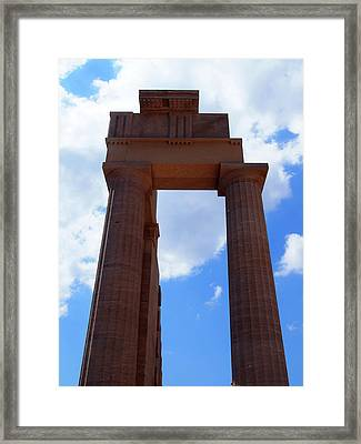 Columns Of The Acropolis In Lindos Rhodes With Blue Sky In Summe Framed Print