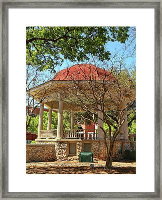 Comal County Gazebo In Main Plaza Framed Print