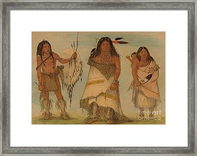 Comanche Chief, His Wife And A Warrior, 1861 Framed Print by George Catlin