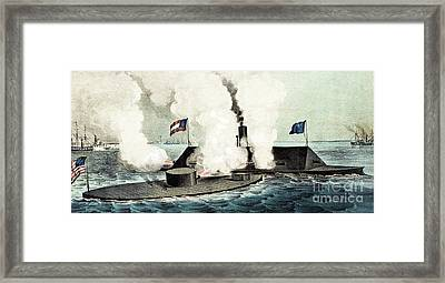 Combat Between The Monitor And The Merrimac During The Civil War Framed Print