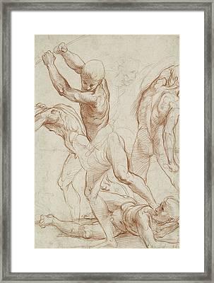 Combat Of Nude Men  Framed Print