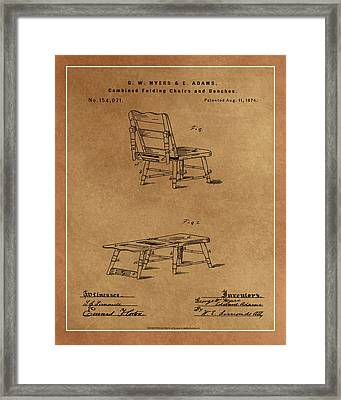 Combined Folding Chair And Bench Patent Drawing 1d Framed Print