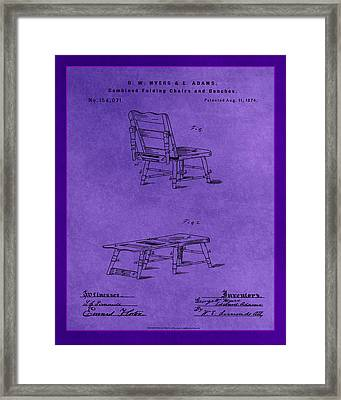 Combined Folding Chair And Bench Patent Drawing 1e Framed Print