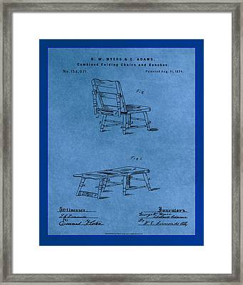 Combined Folding Chair And Bench Patent Drawing 1f Framed Print
