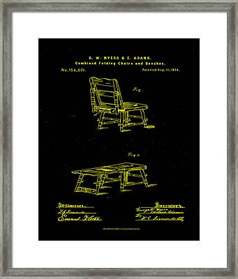 Combined Folding Chair And Bench Patent Drawing 1g Framed Print